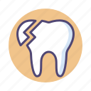 broken tooth, chipped tooth, dental, dentist icon