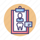 dental, dental record, dental records, record icon