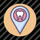 dental, dental location, dentist, dentist location icon