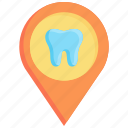 clinic, dentist, location, pin, point, sign, tooth