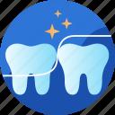 care, clean, dental, floss, health, hygiene, tooth icon