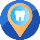 clinic, dentist, location, pin, point, sign, tooth icon