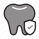 dental care, dentist, health, protection, shield, tooth, tooth insurance icon