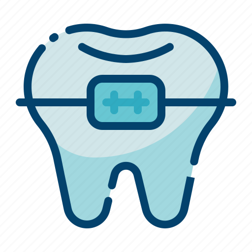 braces, brackets, dental care, dentist, health, orthodontic, tooth icon