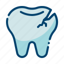 broken tooth, caries, crack, dental care, dentist, health, tooth icon