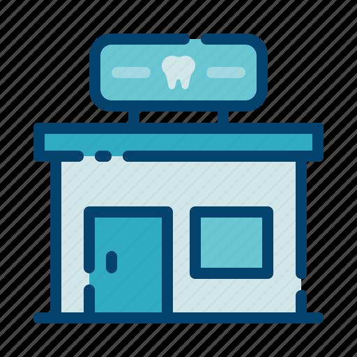 building, clinic, dental care, dentist, health, hospital, tooth icon