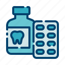capsule, dental care, dentist, health, medicine, tablet, tooth icon