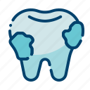 caries, cleaning, dental care, dentist, health, tartar plaque, tooth icon