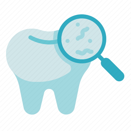 bacteria, dental care, dentist, health, infection, magnifier, tooth icon