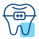braces, brackets, dental care, dentist, health, orthodontic, tooth icon