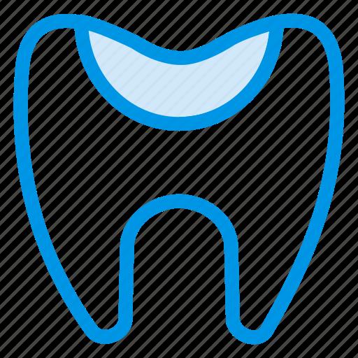 cavity, damage, dental, dentist, doctor, half, tooth icon