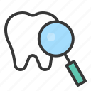 care, dental, dental care, dentist, dentistry, magnify, tooth icon