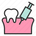 anesthesia, dental, dentistry, syringe, teeth, tooth, tooth gums icon