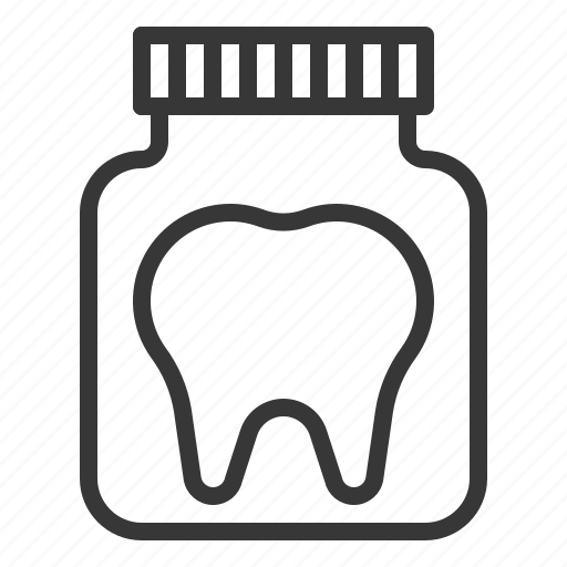 bottle, dental, dentist, dentistry, tooth, tooth in bottle icon