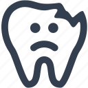 character, cracked, damaged, dental, dentistry, doctor, eye, health care, healthy, human, medical, medicine, mouth, pain, protection, root, sad, tooth icon