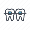 braces, dentist, dentistry, orthodontic icon