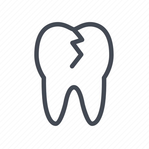 cracked, dental, tooth icon