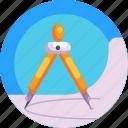 designing tool, drawing, divider, pencil icon