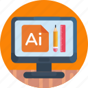 design tools, pencil, adobe illustrator, screen, pen, pc, computer icon