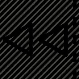 arrow, double, edge, left, move icon