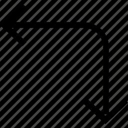 arrow, corner, double icon