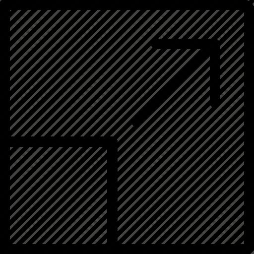 arrow, resize, square, tool icon