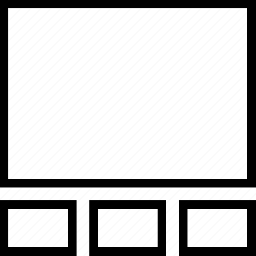 column, display, footer, layout, three, widget icon