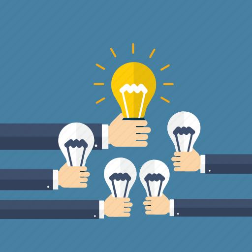 bulb, energy, idea, imagination, light, power, team work icon