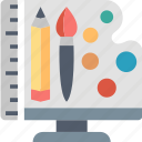 design, studio, art, brush, palette, pencil, tools icon