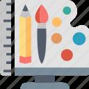 design, studio, art, brush, palette, pencil, tools