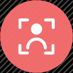 camera focus, crosshair, focus, focusing target, human target, target person, targeting concept icon