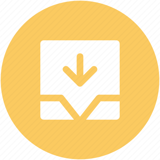 down arrow, download tray, email inbox, inbox, mailbox, storage, web element icon