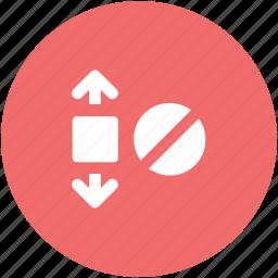 block, block sign, denei fullscreen, expand arrows, forbidden, forbidden expand, full size icon