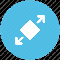 arrow spread, expand, expand arrows, expanding arrows, full screen, size enhance, spread screen icon