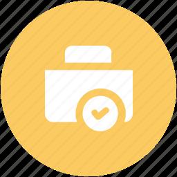 attache case, bag, briefcase, checkmark, luggage, luggage bag, suitcase icon