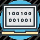binary, binary code, dos, dos coding, language icon
