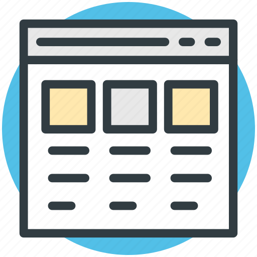 diagram, format, layout, page design, web template icon