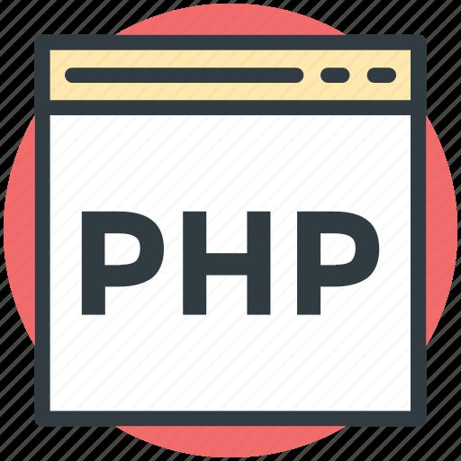 code optimization, development code, php code, web coding, web language icon
