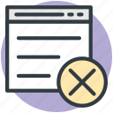 cancel layout, cancel template, format, page design, website design icon