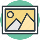 image, landscape, mountain, picture, scenery, sun icon