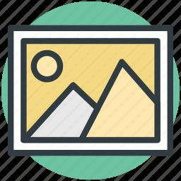 image, landscape, mountain, picture, scenery, sun icon