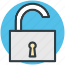 security sign, padlock, unlock, protection, unlock sign icon