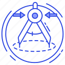 compass, divider, draft tool, drawing tool, geometry tool icon