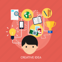 development, concept, process, hard, idea, creative, think icon