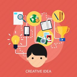 concept, creative, development, hard, idea, process, think icon