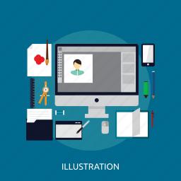 application, computer, concept, design, illustration, tools icon