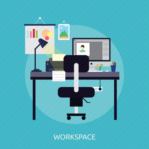 computer, concept, design, freelance, graphic, studio, workspace icon