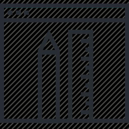 admin, line, page, panel, thin, web icon