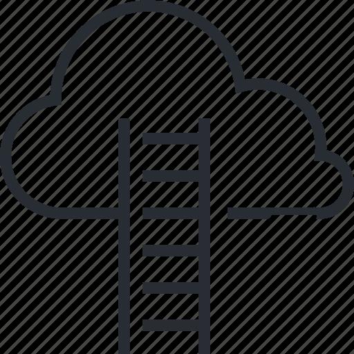 cloud, data, internet, line, online, storage, thin icon