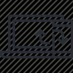 computer, line, mobile, sync, synchronization, thin, transfer icon